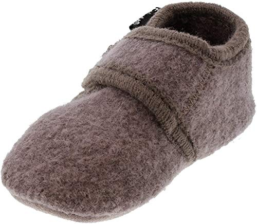 CeLaVi - Wool Booties - Unisex Soft Sole Crib Shoes for Infants and Toddlers - Leather Bottom and Hook and Loop Closure - Ideal Slippers for Pre-Walkers and First Walkers - 9 Colors Dusty Lavender