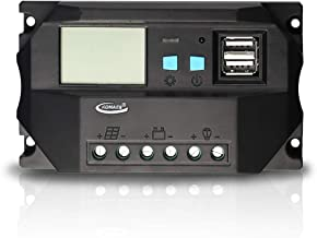 KOMAES 20A 12/24V PWM Solar Charger Controller,Intelligent,Multi-Purpose Solar Charge and Discharge Controller