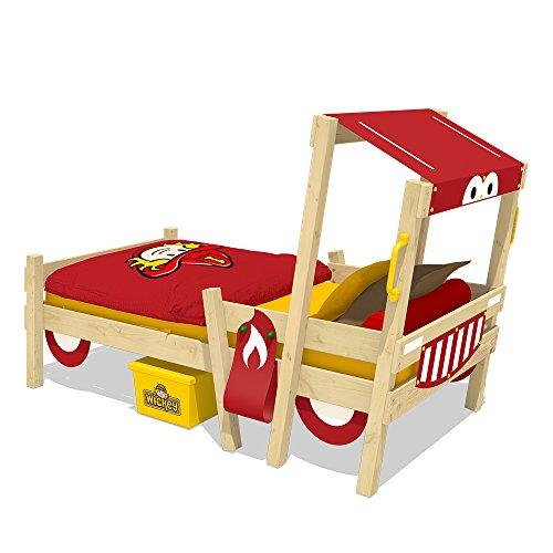 WICKEY Lit pompier CrAzY Sparky Fun rouge Lit enfant voiture 90x200cm avec sommier à lattes