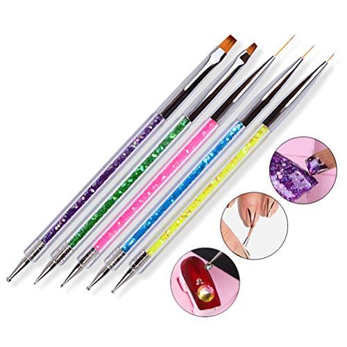Juego de brochas para decoración de uñas, 5 piezas / juego de bolígrafos para decoración de uñas y herramientas de punteado de uñas, bolígrafos de punteado de doble punta, pinceles para delineador