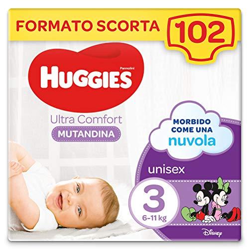 Huggies Ultra Comfort Pannolino Mutandina, Taglia 3/6-11 Kg, Confezione da 102 Pannolini