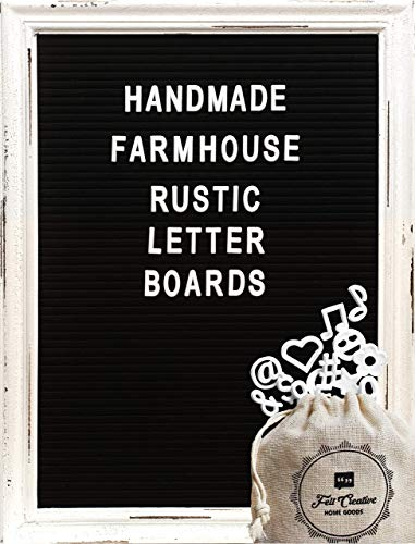 Large Black Felt Letter Board with Rustic White Wood Farmhouse Vintage Frame and Stand by Felt Creative Home Goods | 12x16 Inch Changeable Message Board 350 White Alphabet Letters, Numbers, Emojis