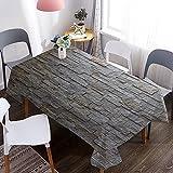 Mantel de Grano de Piedra 3D, Mantel Rectangular Impermeable y a Prueba de Aceite, Adecuado para Cena, Cocina, Comedor M-13 140x180cm