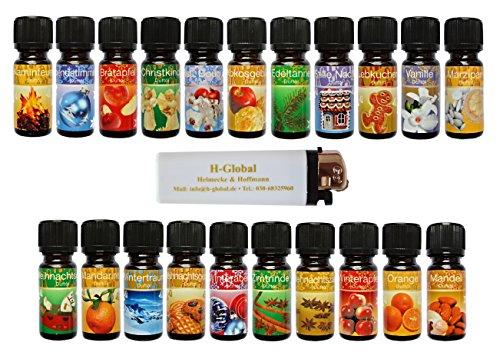 * 21 verschiedene weihnachtliche und winterliche Duftöle Aromaöle Raumduftöle in je 10 ml Fläschchen + 1 Feuerzeug