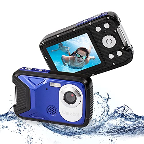 Waterproof Digital Camera Full HD 1080P Underwater Camera 16 MP Underwater Camcorder with 1050MAH Rechargeable Battery Point and Shoot Camera DV Recording Waterproof Camera for Snorkeling (Blue)