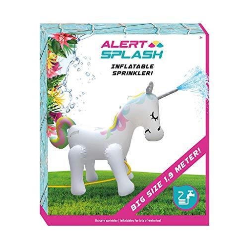 Mein Landhaus Alert Splash Einhorn Unicorn Wassersprinkler 1,9m groß Aufblasbar, Wasserspaß