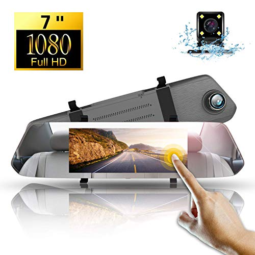 Dash Cam Mirror 1080P,Directtyteam Dual Lens 7' IPS Touch Screen Car Camera Video Recorder, Waterproof Rear View Camera 480P,Loop Recording, G-Sensor, WDR, Night Vision, Parking Mode,170°Wide Angle