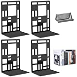 Book Ends Metal Bookends for Shelves, Decorative Bookends for Heavy Books Office School Home Kitchen Black Heavy Duty Bookends Non-Skid, Book Stoppers Support Bookshelf with Card Holder