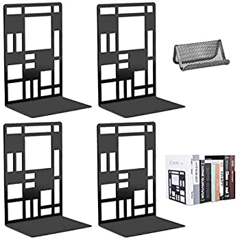 Bookends Book Ends to Hold Books for Office Home Decorative Metal Heavy Duty Bookends for Shelves Non-Skid Book Stoppers Supports Bookshelf Holder Black 2 Pairs