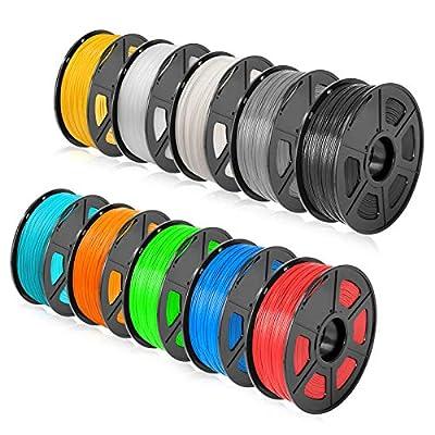 SUNLU ABS 3D Filament 1.75mm 10KG(22LBS) ABS Filament for Most 3D Printer Accuracy +/- 0.02 mm, 10 Colors( 1KG x 10 Spools )