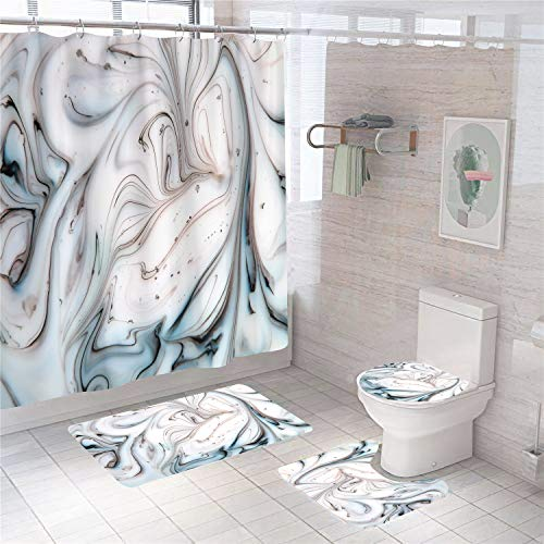 4 Pieces of Marble Texture Shower Curtain Set Blue Textures Bathroom Sets with Non-Slip Rugs Toilet Lid Cover Bath Mat Bathroom Decor with 12Hooks