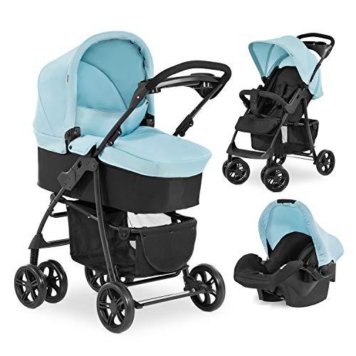 Hauck Kombi Kinderwagen Shopper Trio Set / inkl. Baby Wanne mit Matratze / Reise System mit Autositz / Buggy mit Liegefunktion / bis 25 kg / Getränke Halter / Kompakt Faltbar / Blau