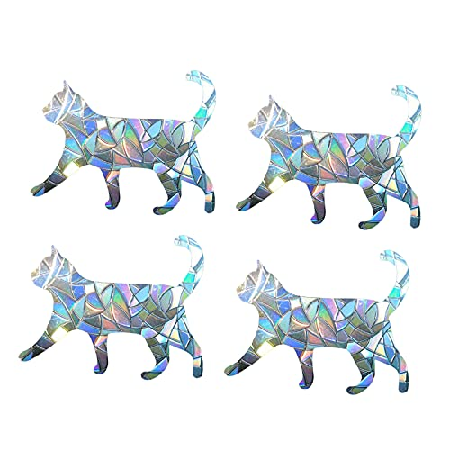 4x Rainbow Janela Se Apega, 3D Vinil Decorativas Da Janela, Janela de Vitral Decalques, Etiquetas Da Janela Estática Adere-se - Gato
