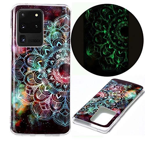 Nadoli Hülle Leuchtend für Samsung Galaxy S20 Ultra,Mandala Blumen Muster Fluoreszierend Licht im Dunkeln Weich Dünn Gummi Handytasche Stoßfest Flexibel Schutzhülle Etui