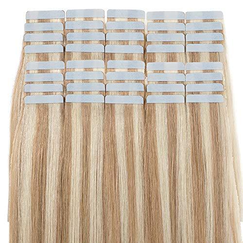 Extension Capelli Veri Adesive con Meches 40cm 100g 40 Fasce - 100% Remy Human Hair Tape in Hair Extension Riutilizzabili, 18/613 Sabbia Biondo/Biondo Chiarissimo