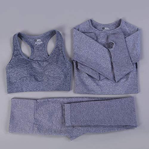 Traje de yoga sin costuras, deportivo, de cintura alta, adecuado para mujeres, fitness, piernas, juego de sujetador push