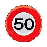 Globo redondo de 45 cm con diseño de señal de tráfico 50, con o sin relleno de helio (sin relleno de helio).