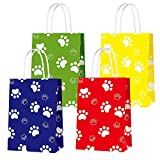 Party Gift Bags for Paw Dog Toys Puppy Party Supplies Party Decor, Party Favor Bags for Boys Girls Birthday Favor Goodie Candy Treat Gift Party Favor Paw Print Bag- 16 PCS (4 Colors)
