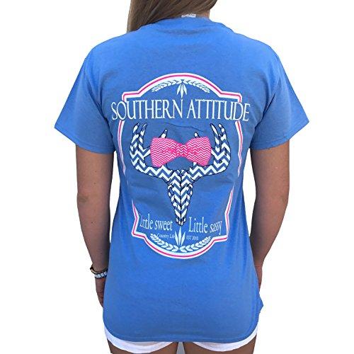 Southern Attitude Sassy Chevron Deer Bow Tie Shirt (Medium) Carolina Blue