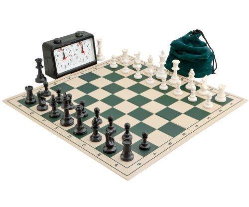 Completa Torneo Pieghevole Scacchi Set Verde