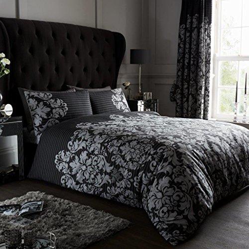Gaveno Cavailia Parure de lit avec Housse de Couette et taies d'oreiller, en Polyester-Coton, Noir, Double