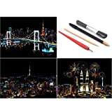 SiYear Scratch Paper Rainbow Painting Sketch, City Series Night Scene,Scratch Painting Creative Gift,Scratchboard for Adult and Kids with 4 Tools -