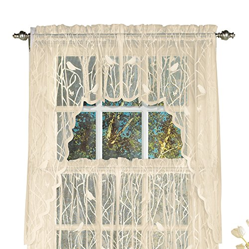 Collections Etc Lace Window Café Curtain Swags with Songbirds & Branches, Ivory