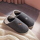 QPPQ Zapatillas de algodón para mujer y hombre, desodorante otoño/invierno, zapatillas de algodón para pareja cálido-gris_7-7.5, cómodas zapatillas de algodón para interiores