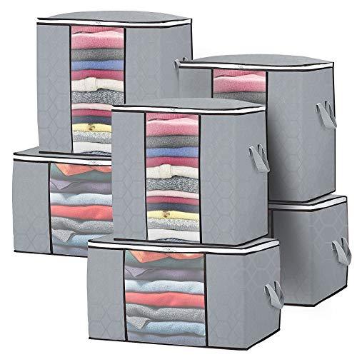 6 Stücks Groß Aufbewahrungstasche Faltbare Kleideraufbewahrung,Dickem Stoff Durchsichtige Fenster mit Langlebige Reißverschluss und verstärktem Griff für Bettdecken,Kleidung,Decken,Kissen,Steppdecken