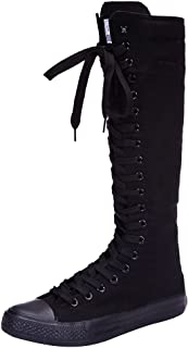 Girls Women Fashion Knee High Lace-Up Canvas Boots Pure White Black Zip Dance Boots