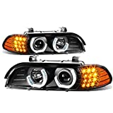 DNA Motoring HL-3D-E3996-BK Black Housing Crystal LED U-Halo Projector Headlight With Led Signal Light Compatible with 5-Series