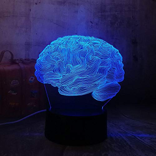 Head Brain 3D LED Night Light Multicolor Novedad Rgb 7 Colores Control Usb Acrílico Lámpara De Escritorio Decoración Para El Hogar Regalo De Navidad, Con control remoto