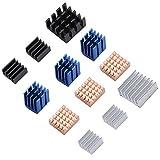 Weiyiroty 3 Modelos de disipador de Calor de Aluminio + Cobre, disipador de Calor de 12 Piezas, para Raspberry Pi
