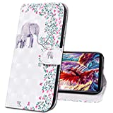 MRSTER iPhone 7 Plus Funda con Tapa Cover Premium PU Leather Wallet Case Creativa 3D Diseño de Pintado Carcasa de Cuero Billetera Estuche para Apple iPhone 7 Plus / 8 Plus. CY Flower Elephant