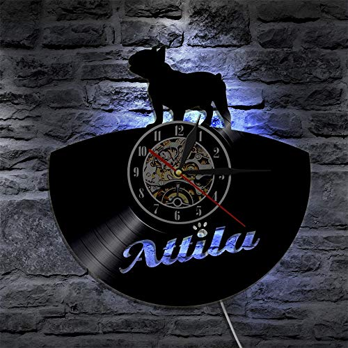 BFMBCHDJ Französische Bulldogge Led Wandleuchte Mops Hund LP Wandkunst Welpe Vintage Home Decor Led Lampe Tier Nachtlicht Geschenk für Hundeliebhaber