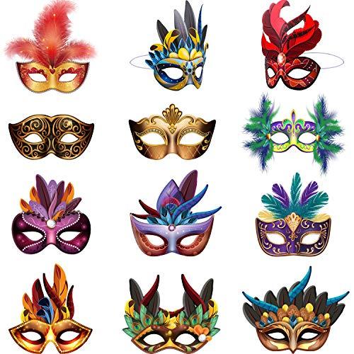 Mardi Gras Masks Paper Masks, Carnival Parade Faux Feather Face Masks...