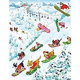 <span class='highlight'><span class='highlight'>Caspari</span></span> Off Leash by Masaki Ryo Advent Calendar Dogs Snowboarding 33 x 43cm