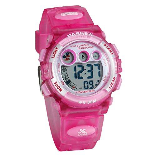 Lancardo Reloj Deportivo Resistente al Agua de 30M de Multifunción Pulsera Digital Impermeable de Moda Retroiluminación con Luces para Deportes Exteriores para Chicos Niños Unisex (Rosa)