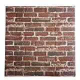 POPPAP 3D Wall Panels Foam Brick Brown White Color Painted Effect Wall Tiles Peel and Stick Foam Planks for Living Room Bedroom TV Background Wall Decor Tiles 5 Panels