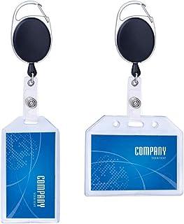 nuoshen Lot de 2 Porte-Badge Yoyo, Porte-Badge Rétractable Transparent pour Carte de Visite, Carte d'Étudiants, Carte Bus
