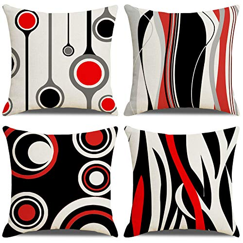 LAXEUYO Fundas de Cojín 45x45 cm Funda de Almohada Cuadrado Juego de 4 Cojines Decorativos para Sofa,Exterior