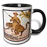 3dRose Vintage Travel Adventure Join the Marines Recruiting Poster Mug, 11 oz, Black