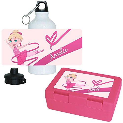Brotdose + Trinkflasche Set mit Namen Amelie und Motiv mit Tänzerin für Mädchen | Aluminium-Trinkflasche | Lunchbox | Vesper-Box