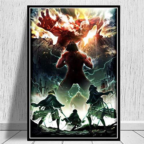Ataque a los Titanes Temporada 1 2 3 Japón Anime Movie Poster e Impresiones Pintura artística Lienzo Cuadros de Pared para Sala de Estar Decoración del hogar50x70 CM Sin Marco