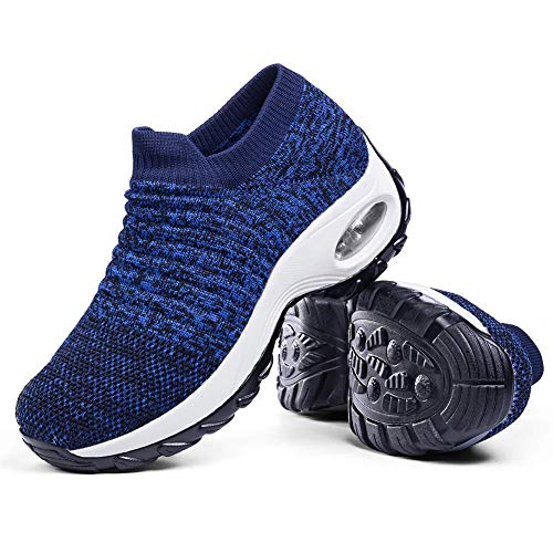 Women's Walking Shoes Sock Sneakers - Breathable Mesh Slip On Lady Girls Work Nursing Easy Shoes Platform Loafers Royal Blue,6.5