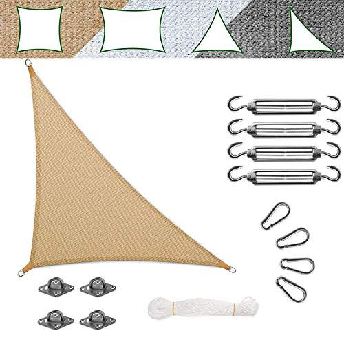 casa pura Voile d'Ombrage - Toile + Kit de Fixation Inclus   Voile d'Ombrage Triangulaire Résistante UV   Toile Tendue en 9 Tailles   Sable - 5x5x7m + Accroche
