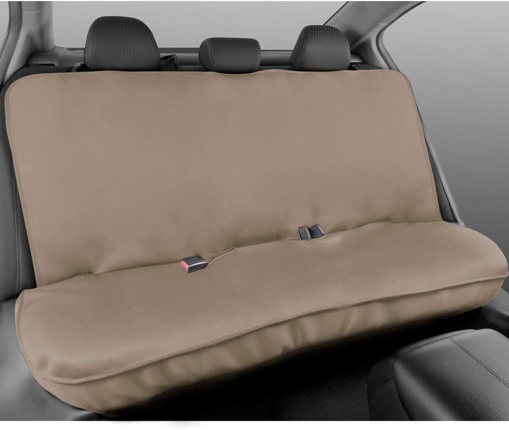 Motor Trend AquaShield Beige Waterproof Rear Bench Car Seat Cover – Neoprene Padded Back Seat Cover for Cars, Ideal Car Seat Cover for Kids Dogs, Universal Fit Design for Auto Truck Van SUV