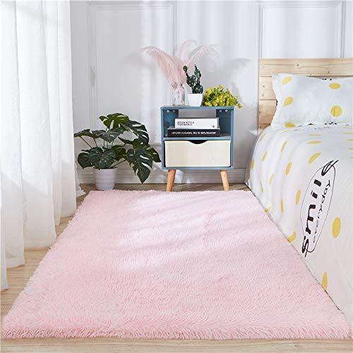 Alfombra de piel de oveja sintética de piel de oveja, color rosa