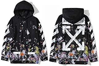 Off-white starry sky Pullover Hoodie Ins Hot Unisex Black Hooded Sweatshirt For Men And Women