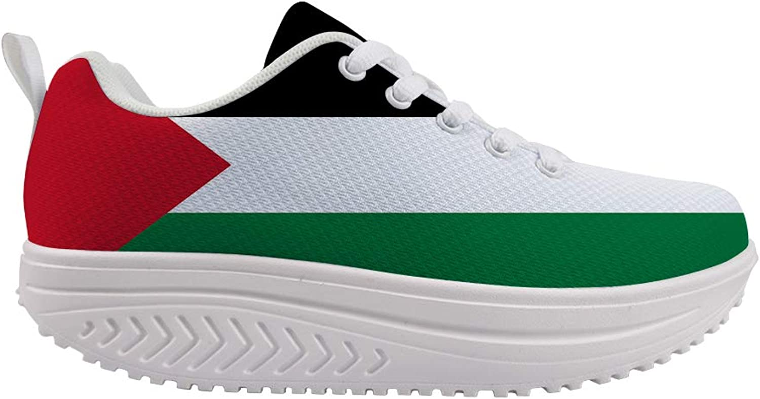 Owaheson Swing Platform Toning Fitness Casual Walking shoes Wedge Sneaker Women Palestine Flag